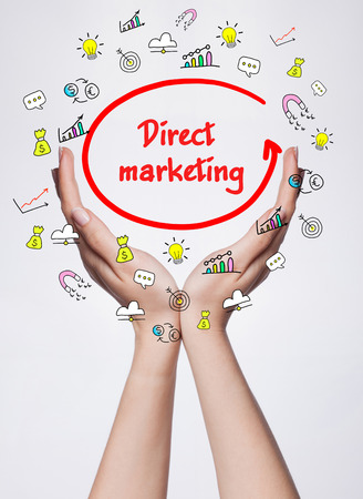 business marketing: Technology, internet, business and marketing. Young business woman writing word: Direct marketing