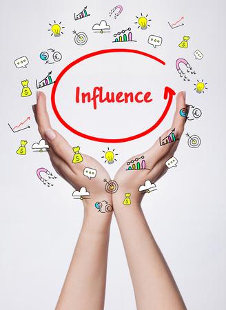 Tecnologia, internet, business e marketing. Parola di scrittura della giovane donna di affari: influenza