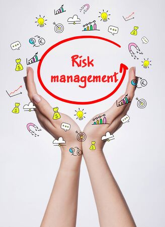 business risk: Technology, internet, business and marketing. Young business woman writing word: Risk management