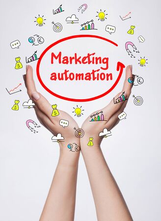 internet network: Technology, internet, business and marketing. Young business woman writing word: Marketing automation Stock Photo