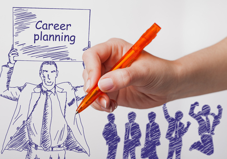 technology career: Business, technology, internet and networking concept. The girl draws a pen businessman with a poster in his hands. The sign reads: career planning