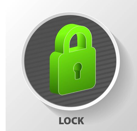 Flat lock with keyhole for safeguard. Vector illustration of security concept with locked blue combination pad flat lock.