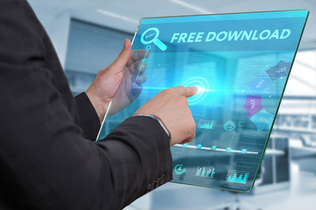 Business, Technology, Internet and network concept. Business man working on the tablet of the future, select on the virtual display: free download Standard-Bild