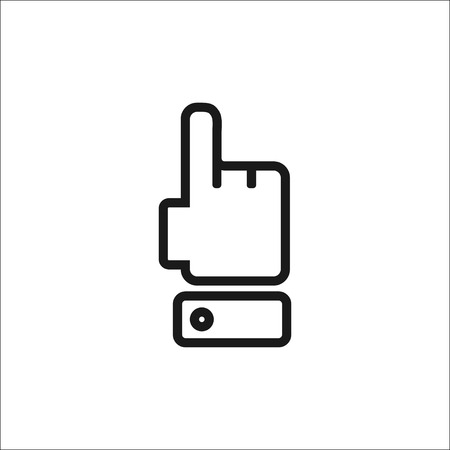clicking: Isolated on white background. Attention finger icon