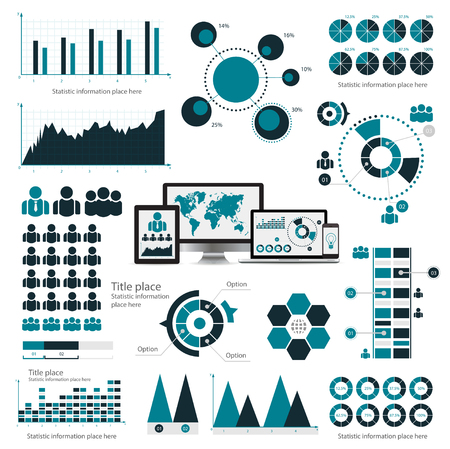 Business infographic concept - vector set of infographic elements in flat design style for presentation, booklet, website. Vector icons set