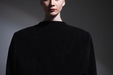 Fashion art studio portrait of elegant girl in geometric black and white background. Stock Photo - 124760066