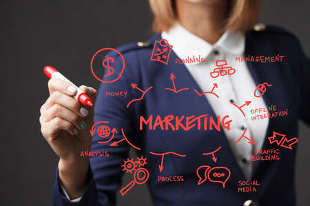 Business girl writes a red marker development strategy. The concept of marketing.