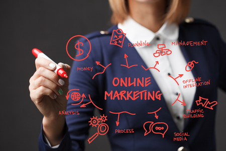 business pitch: Business girl writes a red marker development strategy. The concept of marketing. Online marketing