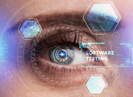 Human eye with futuristic interface. Technology. Augmented reality.