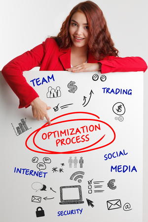 Business, Technology, Internet and network concept. Young businessman shows the word: Optimization process  - Image