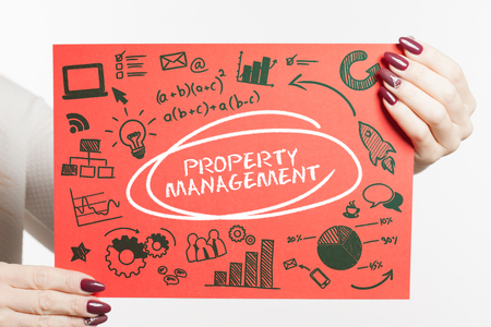 Business, Technology, Internet and network concept. Young businessman shows the word: Property management Imagens
