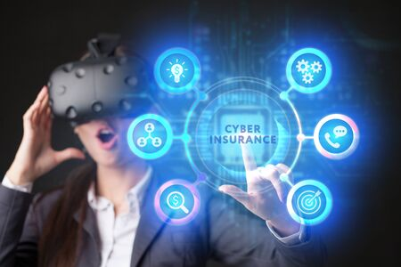 The concept of business, technology, the Internet and the network. A young entrepreneur working on a virtual screen of the future and sees the inscription: Cyber insurance Imagens