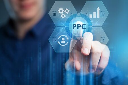Pay per click payment technology digital marketing internet  concept of virtual screen. PPC Imagens