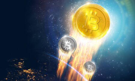 Crypto-currency, Bitcoin internet virtual money.