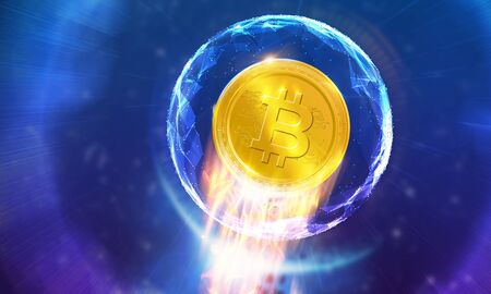 Crypto-currency, Bitcoin internet virtual money.
