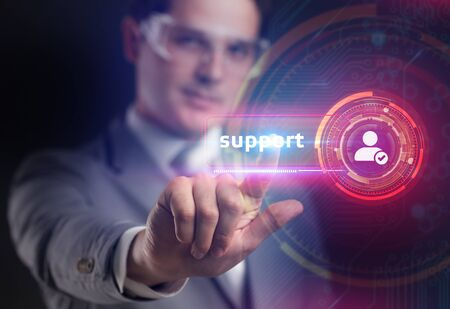 Business , internet  and technology concept. Technical support. Customer help. Businessman presses support on virtual screen.