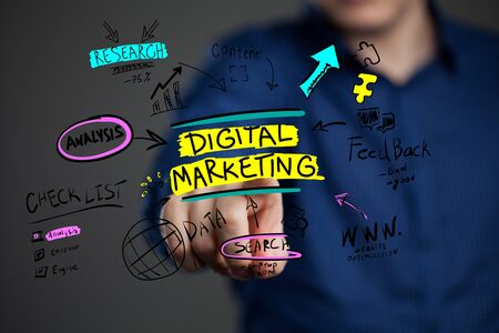 The concept of business, technology, the Internet and the network. A young entrepreneur working on a virtual screen of the future and sees the inscription: Digital marketing