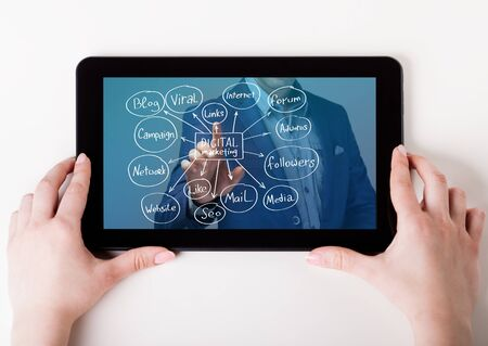 The concept of business, technology, the Internet and the network. A young entrepreneur working on a virtual screen. Marketing concept Imagens