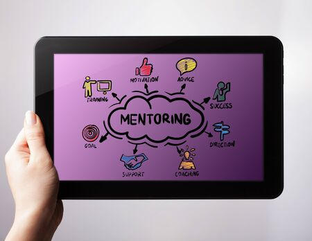 Coaching and Mentoring Concept. Chart with keywords and icons .The concept of business, technology, the Internet and the network.