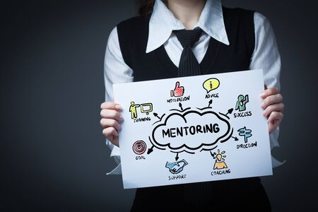 Planning marketing strategy. Business, Technology, Internet and network concept. Young businessman shows the word: mentoring Stock Photo