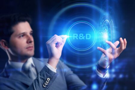 Business, Technology, Internet and network concept. Businessman touched r and d sign.