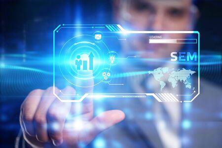 SEM Search Engine Optimization Marketing Ranking Traffic Website Internet Business Technology Communication Concept.