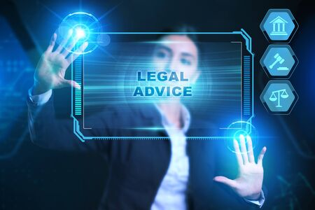 Business, Technology, Internet and network concept. Labor law, Lawyer, Attorney at law, Legal advice concept on virtual screen. Stockfoto