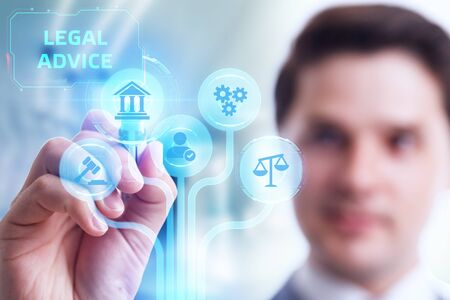 Business, Technology, Internet and network concept. Labor law, Lawyer, Attorney at law, Legal advice concept on virtual screen.
