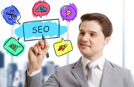 Business, Technology, Internet and network concept. SEO Search engine optimization marketing ranking. 免版税图像