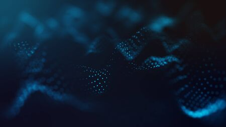 Abstract futuristic -  technology with polygonal shapes on dark blue background.  Design digital technology concept.