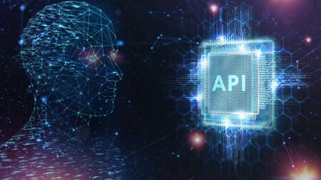 API - Application Programming Interface. Software development tool. Business, modern technology, internet and networking concept.