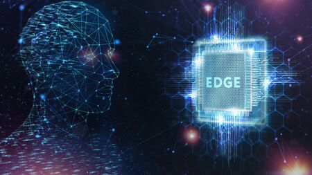 Edge computing modern IT technology on virtual screen. Business, technology, internet and networking concept