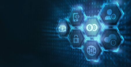 Crypto-currency,  Bitcoin internet virtual money. Currency Technology Business Internet Concept.