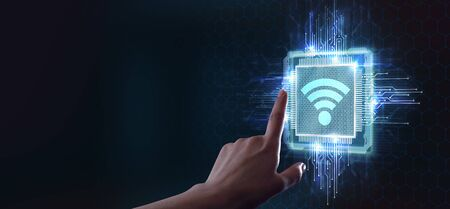 Business, Technology, Internet and network concept. Free WiFi network signal.