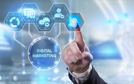 Business, Technology, Internet and network concept. Digital Marketing content planning advertising strategy concept. Banque d'images
