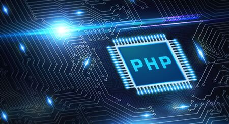 Business, Technology, Internet and network concept. PHP abbreviation. Modern technology concept. Stock Photo