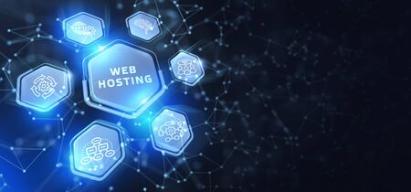 Web Hosting. The activity of providing storage space and access for websites. Business, modern technology, internet and networking concept Stock Photo