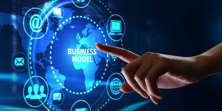 Business, Technology, Internet and network concept. Shows the inscription: BUSINESS MODEL.