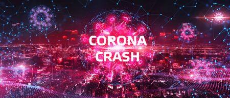 Corona-Crash - Corona-Crash - handgezeichnetes Diagramm auf der Tafel, das den Zusammenbruch der Börse oder die durch Coronavirus verursachte Finanzwirtschaftskrise zeigt