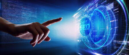 Business, Technology, Internet and network concept. SEO Search engine optimization marketing ranking. Foto de archivo