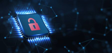 Cyber security data protection business technology privacy concept. Young businessman  select the icon security on the virtual display.