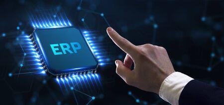 Enterprise resource planning ERP concept. Businessman click on ERP business management software button. Business, Technology, Internet and network concept.