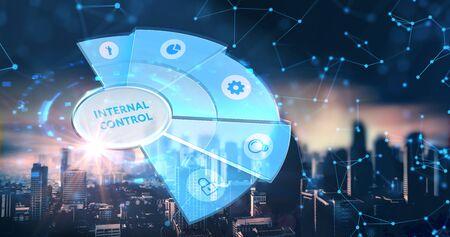 Businessman presses button internal control on virtual screens. Business, Technology, Internet and network concept Banco de Imagens