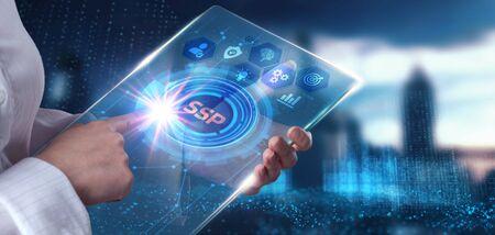 SSP - Supply Side Platform. Business, Technology, Internet and network concept.