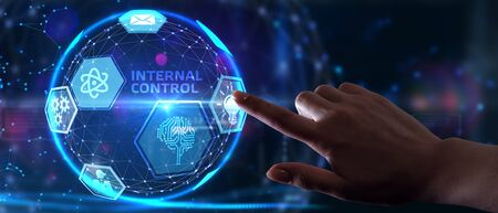 Businessman presses button internal control on virtual screens. Business, Technology, Internet and network concept