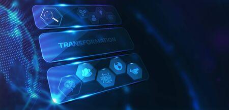 Business, Technology, Internet and network concept. Businessman presses button transformation on virtual screens. Standard-Bild