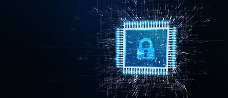 Cyber security data protection business technology privacy concept. Young businessman  select the icon security on the virtual display.3D illustration.