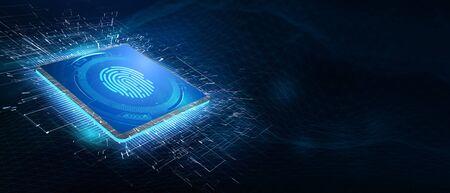 Fingerprint scan provides security.  Business, technology, internet and networking concept. 3D illustration.
