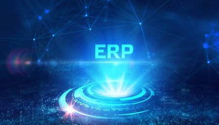 Business, Technology, Internet and network concept. Enterprise Resource Planning ERP corporate company management.