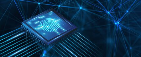 Fingerprint scan provides security. Business, technology, internet and networking concept.